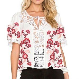 For Love & Lemons Lace-Inset Embroidered Top